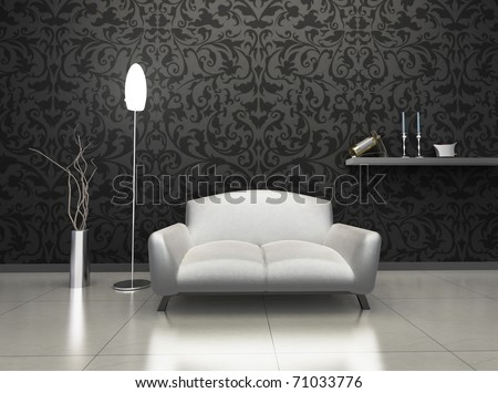 Interior of luxury living room with expensive decor and furniture. - stock photo