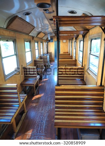 interior of luxury old train carriage - stock photo