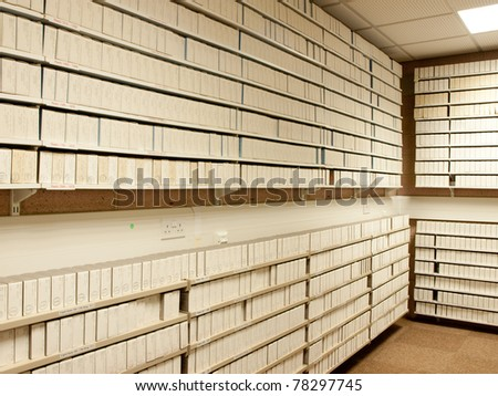 Interior of microfilm archive in a library - stock photo