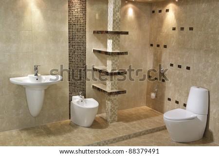 Interior of minimalist modern bathroom - stock photo