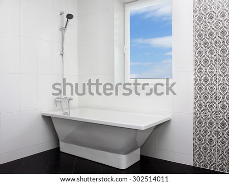 Interior of minimalistic modern bathroom - stock photo