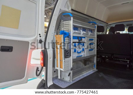 Interior of mobile metalwork shop on the chassis of all-metal van