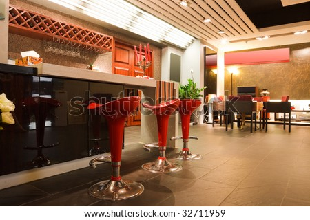 interior of modern and beautiful bar or restaurant