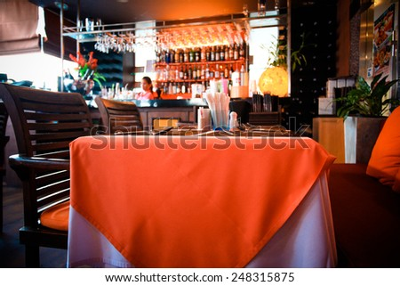Interior of modern and beautiful bar or restaurant. Blurred background - stock photo