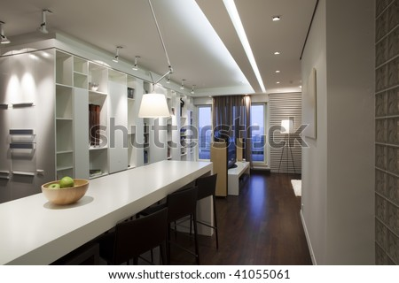 interior of modern apartment - dining room