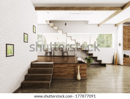 Interior of modern apartment dining room 3d render - stock photo