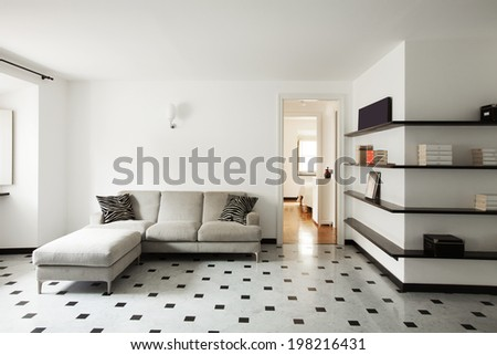Interior of modern apartment, living room - stock photo
