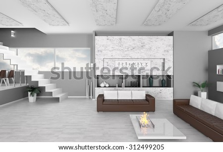 Interior of modern apartment living room 3d render - stock photo
