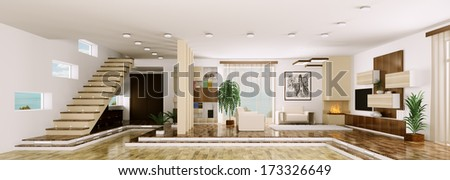 Interior of modern apartment living room hall panorama 3d render - stock photo