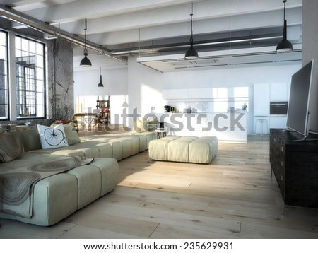 Interior of modern apartment living room kitchen. 3d rendering - stock photo