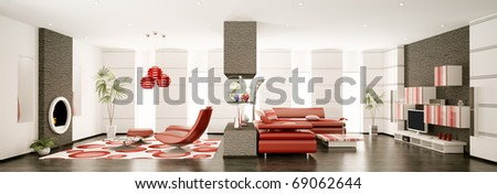 Interior of modern apartment panorama 3d render - stock photo