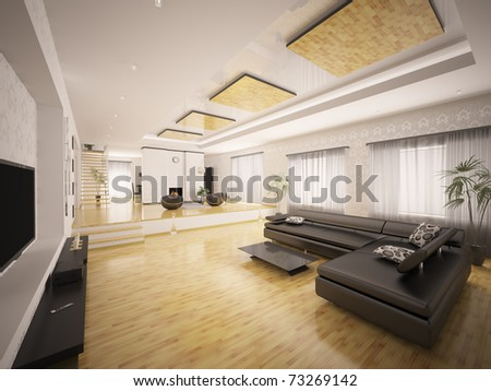 Interior of modern apartment with staircase and fireplace 3d render - stock photo
