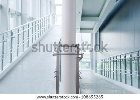 interior of Modern architecture corridor - stock photo