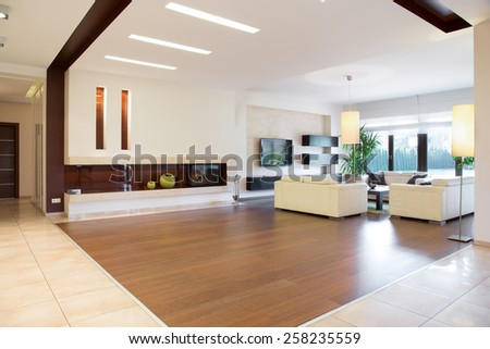 Interior of modern area in spacious house