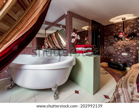 Interior of modern bathroom - stock photo