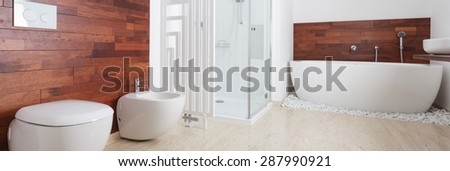 Interior of modern bathroom in african style - stock photo