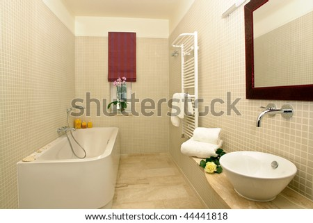 Interior of modern bathroom with bathtub.