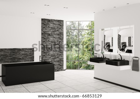 Interior of modern bathroom with black bath and sinks 3d render