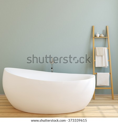 Interior of modern bathroom with blue wall and wooden floor. 3d render. - stock photo