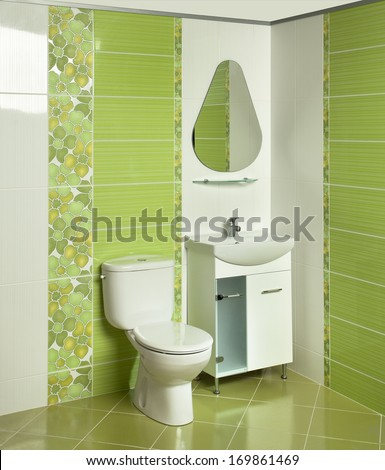 Interior of modern bathroom with sink and toilet - stock photo