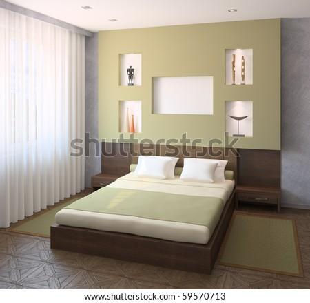 Interior of modern bedroom. 3d render. - stock photo