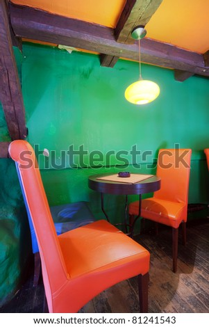 Interior of modern cafe, mainstream, modern pop style.