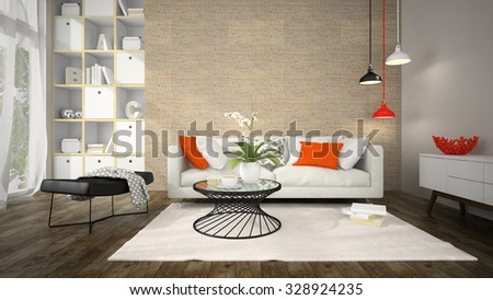 Interior of modern design room with cork wall 3D rendering - stock photo