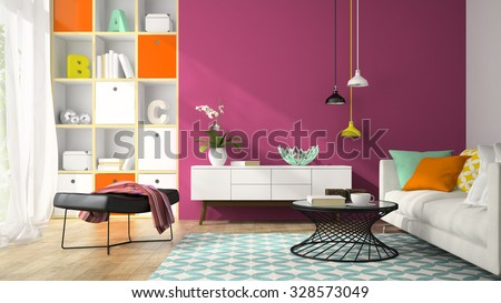 Interior of modern design room with purple wall 3D rendering  - stock photo