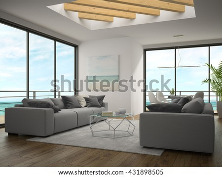 Interior of modern design room with sea view 3D rendering - stock photo