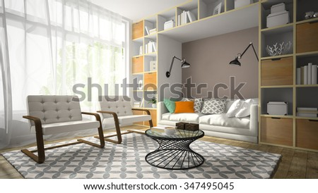 Interior of modern design room with two white armchair 3D rendering - stock photo