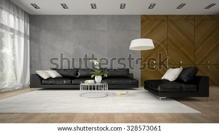 Interior of modern design room with wooden closet 3D rendering  - stock photo