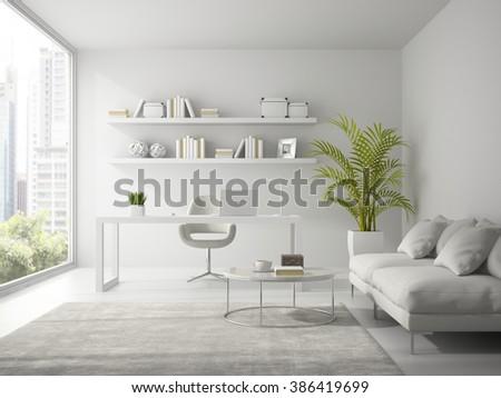 Interior of modern design white office 3D rendering  - stock photo