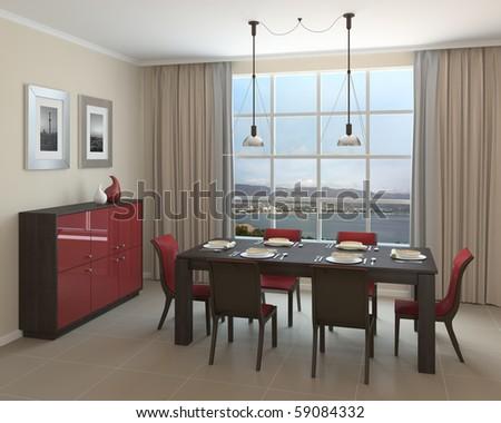 Interior of modern dining-room. 3d render. - stock photo