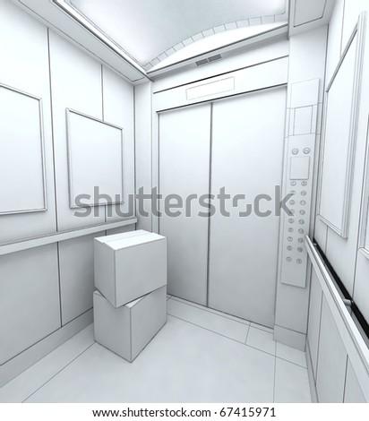 Interior of Modern elevator - stock photo