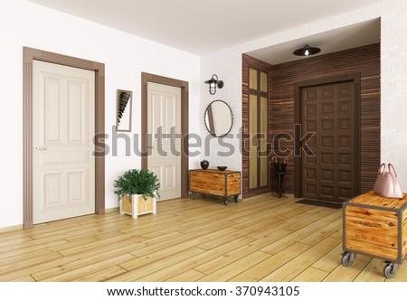 Interior of modern entrance hall 3d render - stock photo