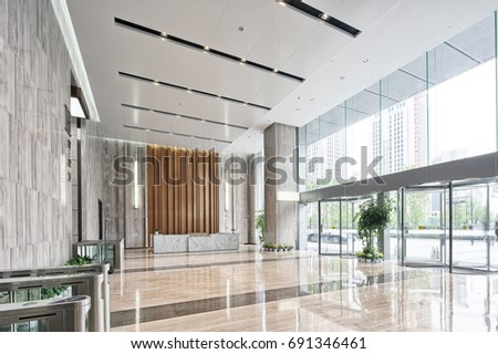 Marvelous Interior Of Modern Entrance Hall In Modern Office Building