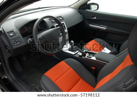 interior of modern european car, stylish colors - stock photo