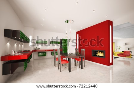 Interior of modern green red kitchen with fireplace 3d render