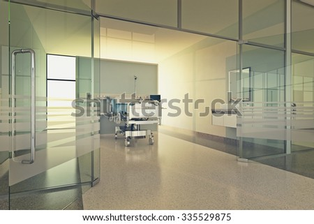 Interior Of Modern Hospital Room With Bed And Medical Equipment - stock photo