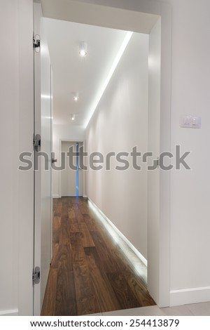 Interior of modern house in scandinavian style, view from the corridor - stock photo