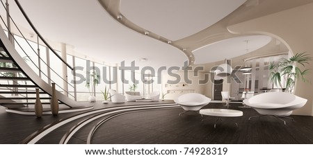 Interior of modern house living room kitchen hall panorama 3d render - stock photo