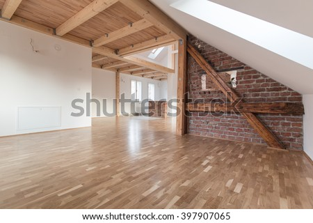 Interior of modern house with empty space - stock photo