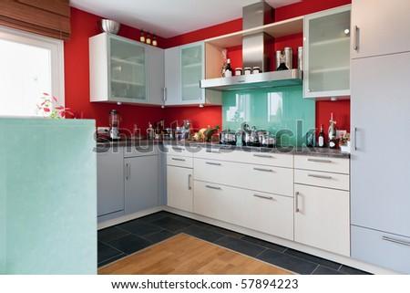 Interior of modern kitchen - stock photo
