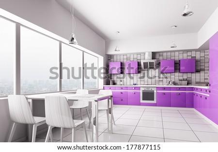 Interior of modern kitchen 3d render - stock photo