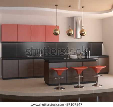 Interior of modern kitchen. 3d render. - stock photo