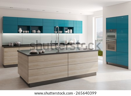 Interior of modern kitchen. 3d  render. Photo behind the window was made by me. - stock photo