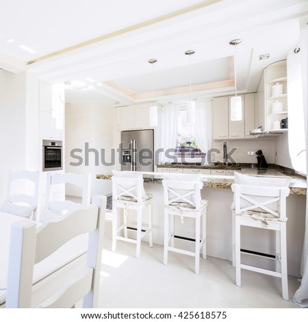 Interior of modern kitchen in a spacious apartment