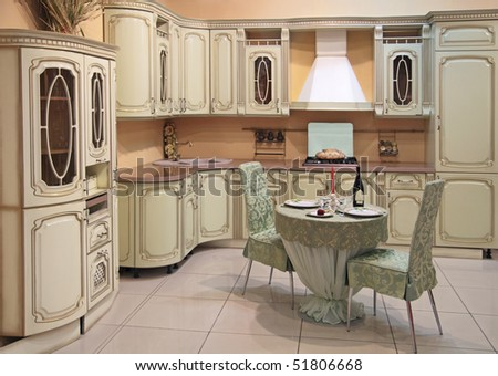 Interior of modern kitchen in classical style - stock photo
