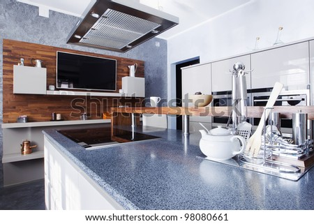 interior of modern kitchen in luxury mansion - stock photo