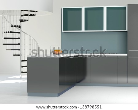 Interior of modern large black and white kitchen, 3d render - stock photo